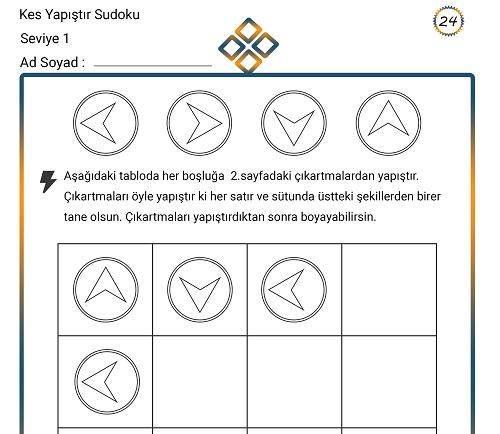 Kes Yapıştır Sudoku Etkinliği 24 (Seviye 1)