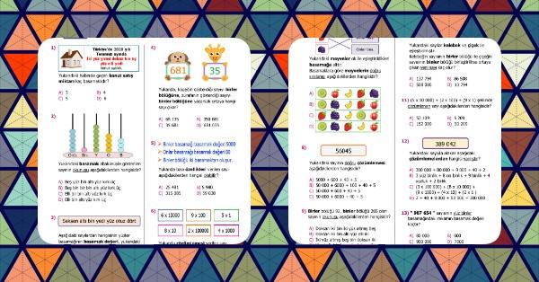 4. Sınıf Matematik Basamaklar-Bölükler-Çözümleme Kazanım Testi