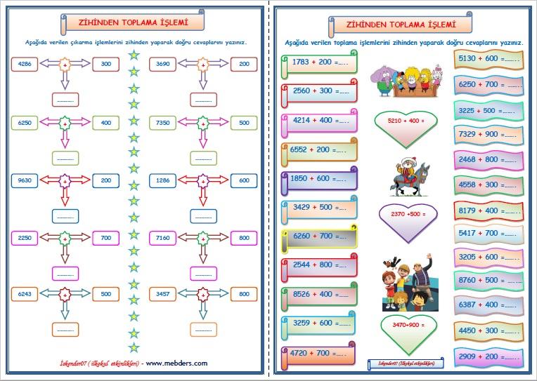 4.Sınıf Matematik Zihinden Toplama İşlemi  (2 sayfa)