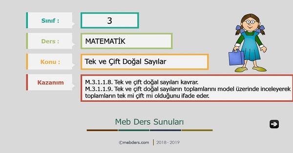 3.Sınıf Matematik Tek ve Çift Doğal Sayılar Sunusu