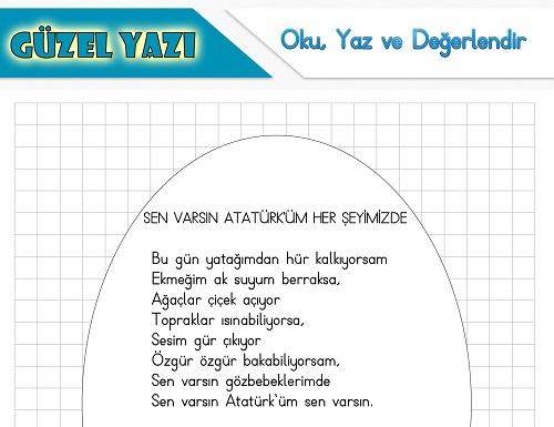 Şiir oku yaz değerlendir etkinliği - Sen Varsın Atatürk'üm Her Şeyimizde