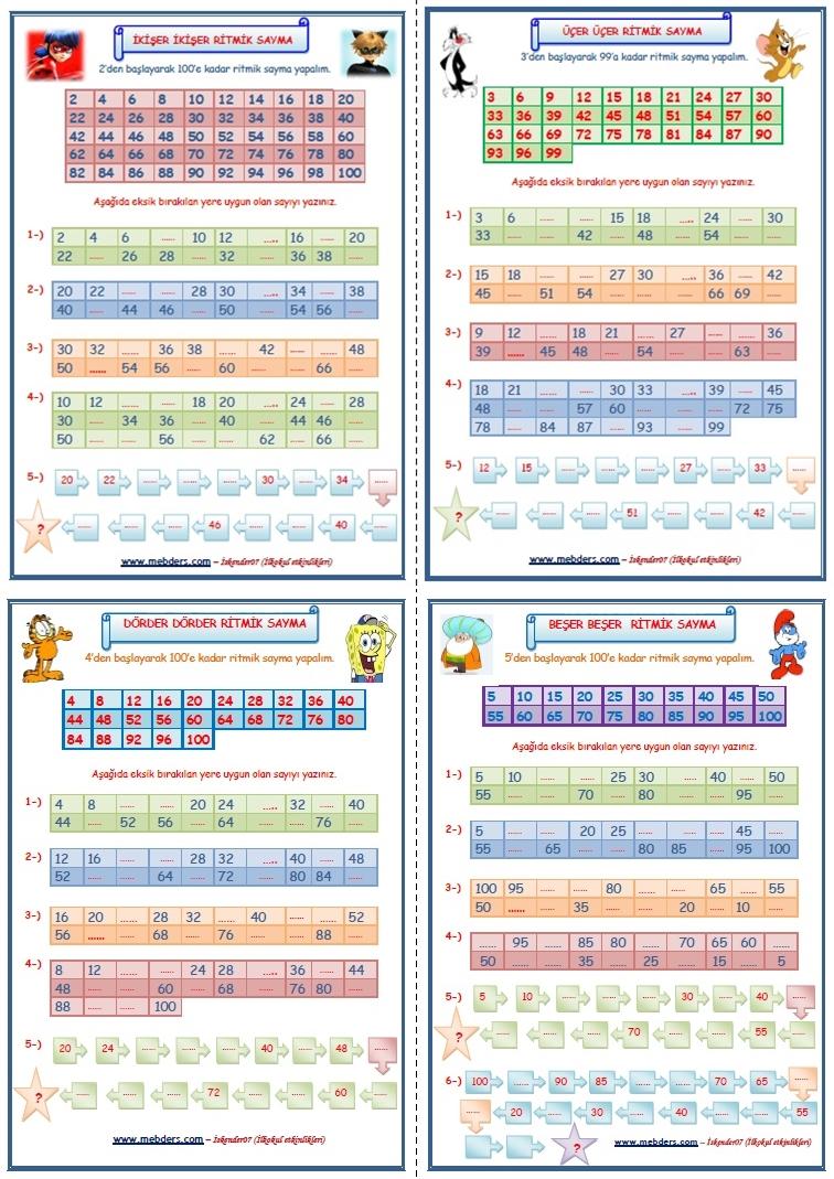 3. Sınıf Matematik Ritmik Saymalar 4 SAYFA (ikişer-üçer-dörder-beşer)