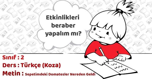 2.Sınıf Türkçe Sepetimdeki Domatesler Nereden Geldi Metni Etkinlik Cevapları