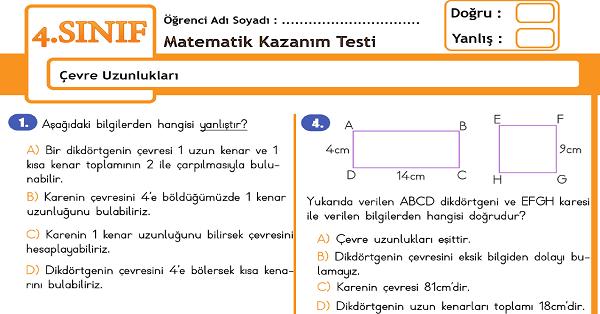 4.Sınıf Matematik Çevre Uzunlukları Kazanım Testi