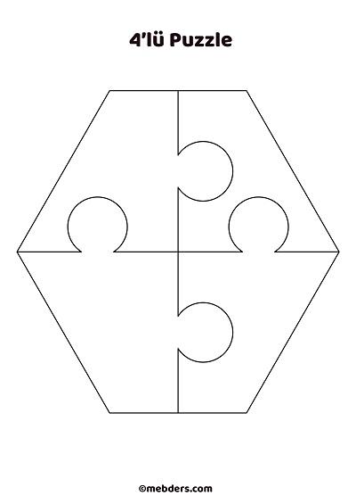 4'lü altıgen puzzle şablon