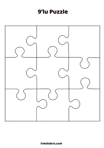 9'lu puzzle şablon 2
