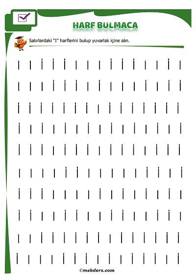 1.Sınıf İlk Okuma Harf Bulmaca - I Sesi