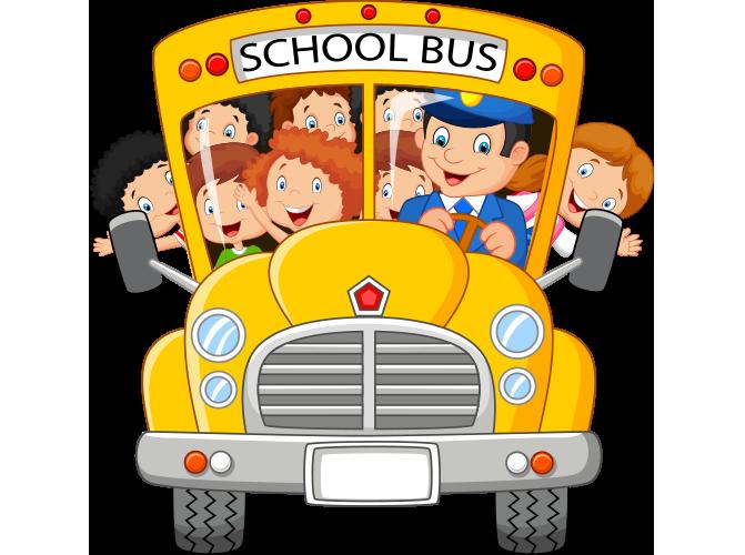 Öğrencilerle dolmuş okul otobüsü resmi png