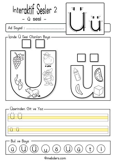 1.Sınıf İlk Okuma İnteraktif ü sesi etkinliği 2