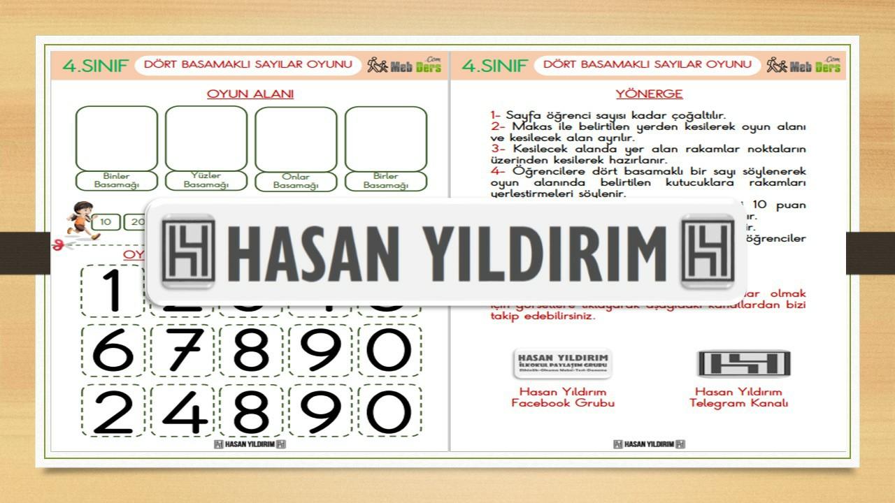 4 Basamaklı Sayılar Oyunu (4.Sınıf)