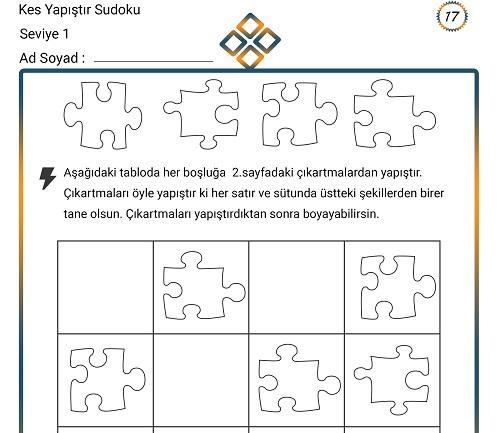 Kes Yapıştır Sudoku Etkinliği 17 (Seviye 1)