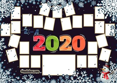2A Sınıfı için 2020 Yeni Yıl Temalı Fotoğraflı Afiş (25 öğrencilik)