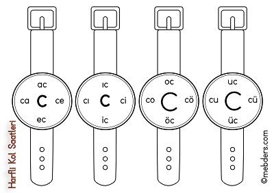 1.Sınıf İlkokuma Harfli Kol Saatleri - C Harfi