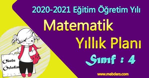 2020 - 2021 Yılı 4.Sınıf Matematik Yıllık Planı (MEB)