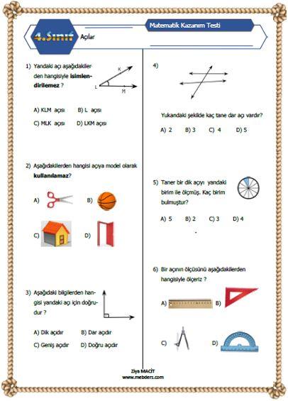 4. Sınıf Matematik Açılar  Kazanım Testi