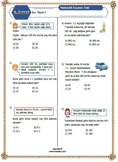 4. Sınıf Matematik Sıvı Ölçme Kazanım Testi 2