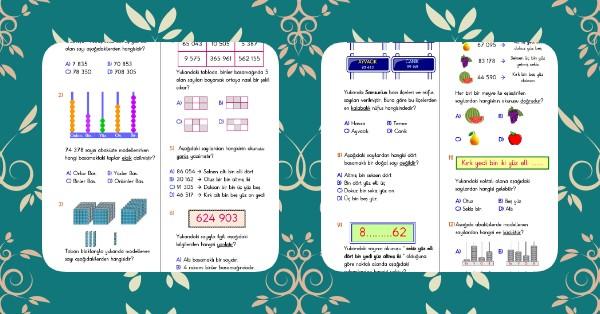 4. Sınıf Matematik Doğal Sayılar Kazanım Testi - 1