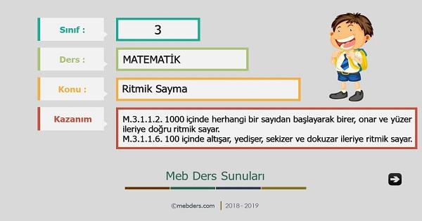 3.Sınıf Matematik Ritmik Sayma Sunusu