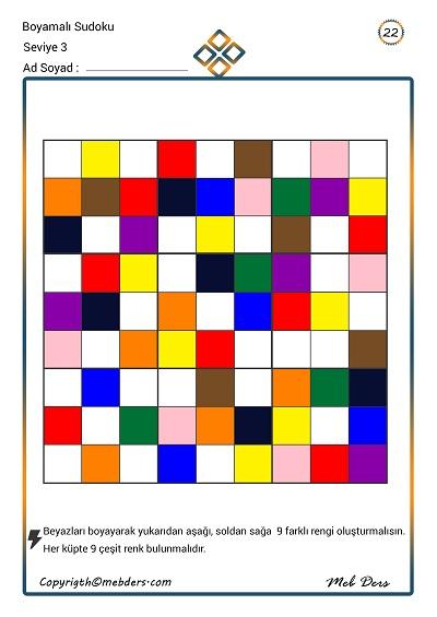 Boyamalı Sudoku 22