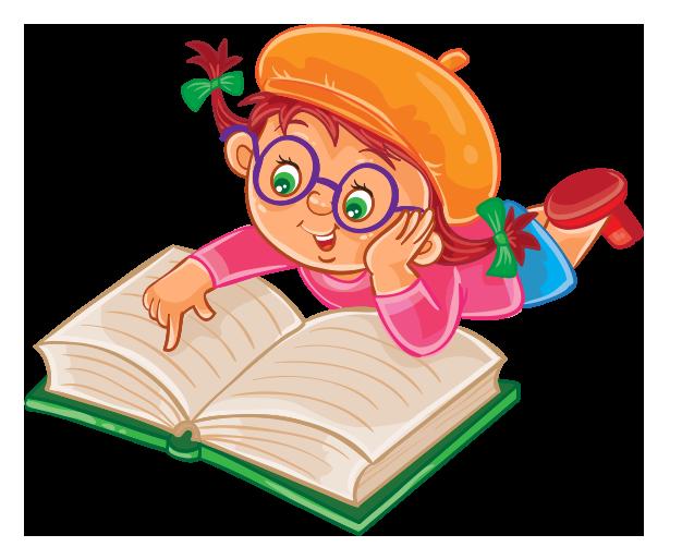 Clipart yere uzanmış kitap okuyan kız çocuk resmi