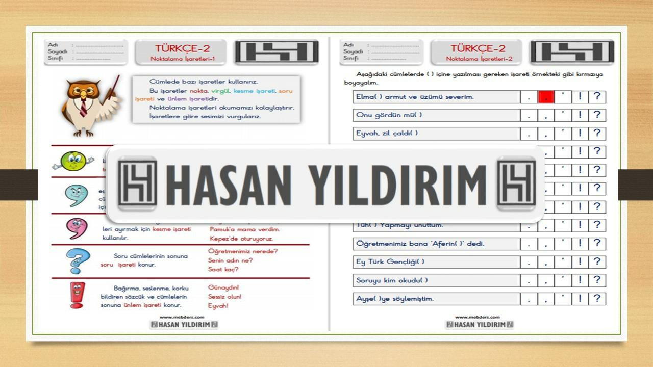 2.Sınıf Türkçe Noktalama İşaretleri Çalışma Sayfaları
