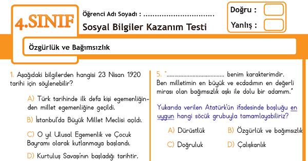 4.Sınıf Sosyal Bilgiler Özgürlük ve Bağımsızlık Kazanım Testi