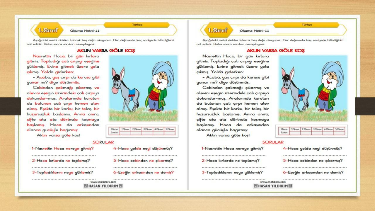 1.Sınıf Türkçe Okuma Metni-11 (Aklın Varsa Göle Koş)