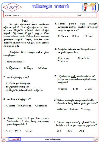 1. Sınıf Türkçe Test 1