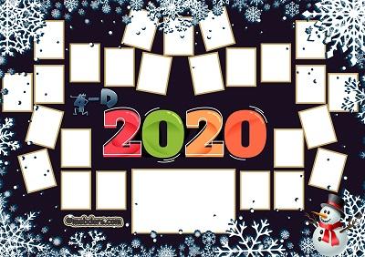 4D Sınıfı için 2020 Yeni Yıl Temalı Fotoğraflı Afiş (25 öğrencilik)