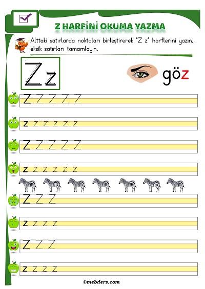 1.Sınıf İlkokuma Z Sesi Okuma Yazma Etkinliği