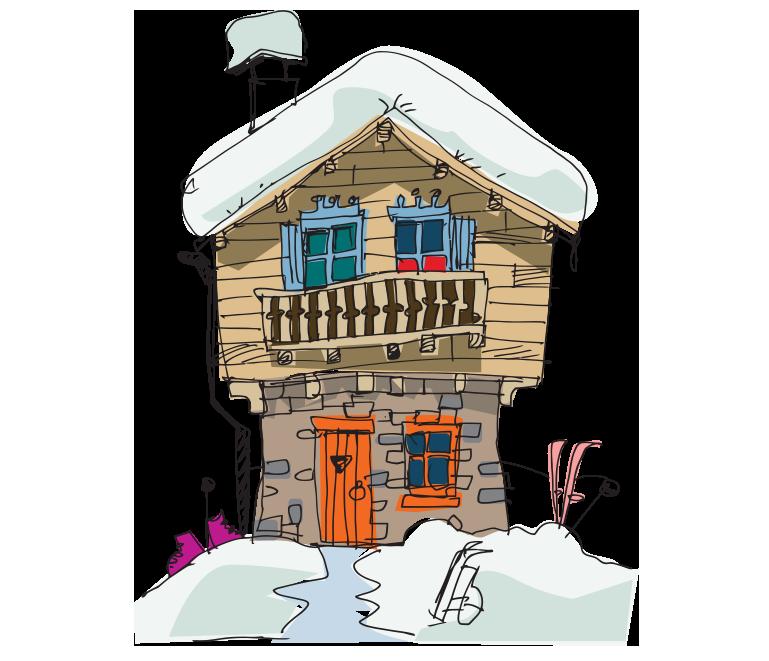 Karalama çizim kış evi resmi png