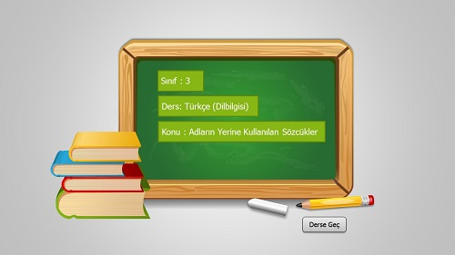 3.Sınıf Türkçe Adların Yerine Kullanılan Sözcükler Sunusu