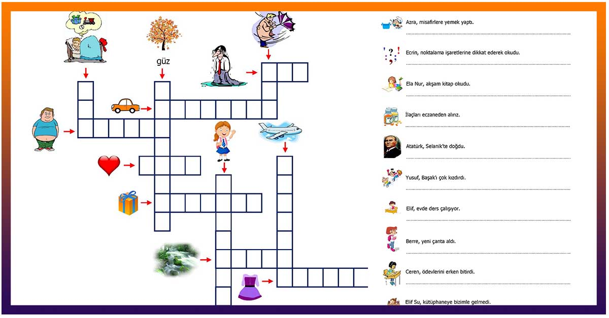 2.Sınıf Türkçe Eş Anlamlı Sözcükler ve Soru Cümleleri Etkinliği