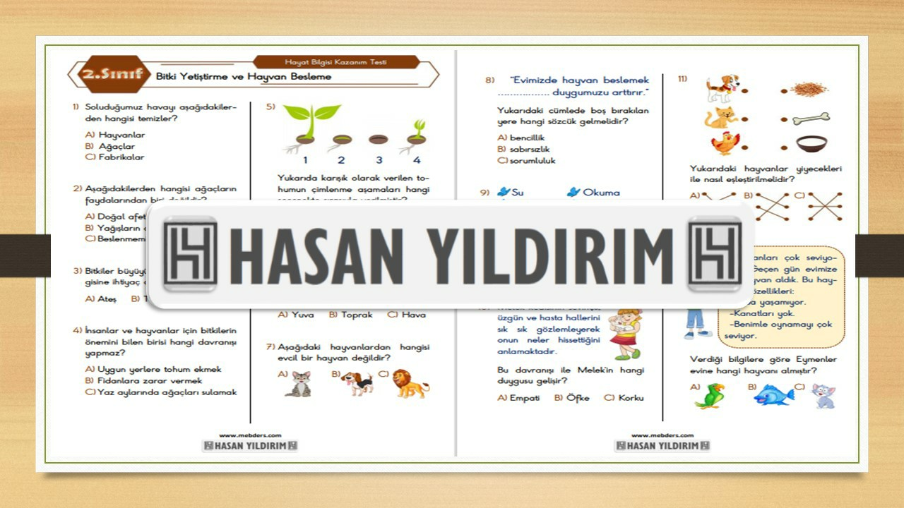 2.Sınıf Hayat Bilgisi Bitki Yetiştirme ve Hayvan Besleme Testi