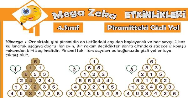 4.Sınıf Mega Zeka Etkinliği - Piramitteki Gizli Yol