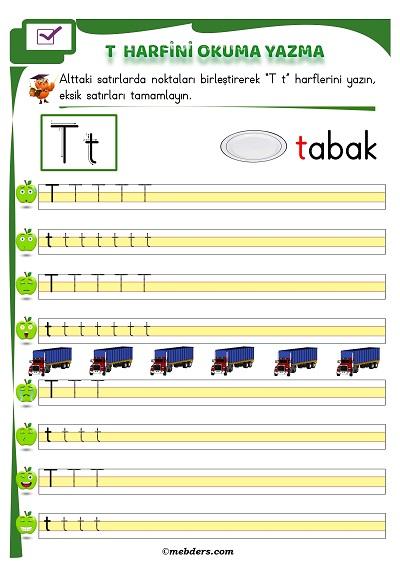 1.Sınıf İlkokuma T Sesi Okuma Yazma Etkinliği
