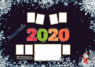 Anasınıfı için 2020 Yeni Yıl Temalı Fotoğraflı Afiş (7 öğrencilik)
