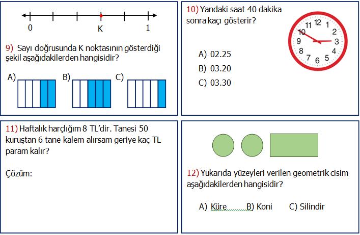 3.Sınıf Matematik Genel Değerlendirme Etkinliği 2