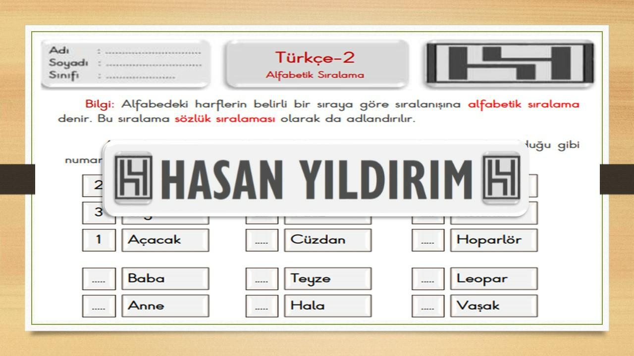 2.Sınıf Türkçe Alfabetik Sıralama Çalışma Sayfası