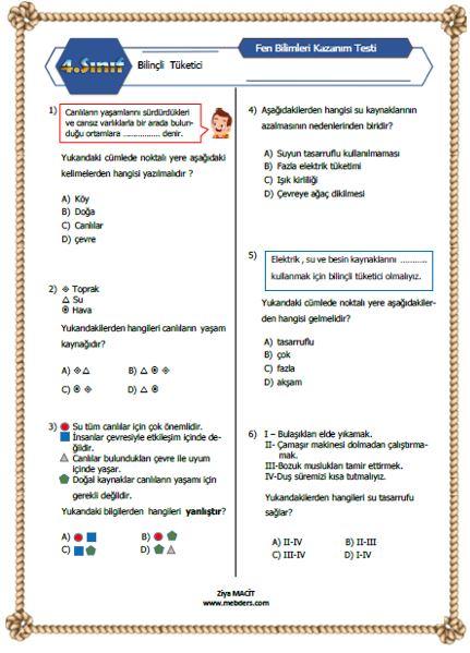 4. Sınıf Fen Bilimleri Bilinçli Tüketici Kazanım Testi