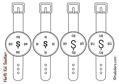1.Sınıf İlkokuma Harfli Kol Saatleri - Ş Harfi