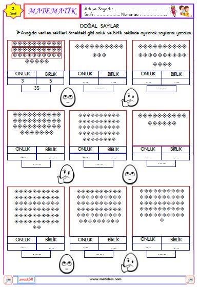 2. Sınıf Matematik Sayıları Yazma ve Okuma Etkinliği 7