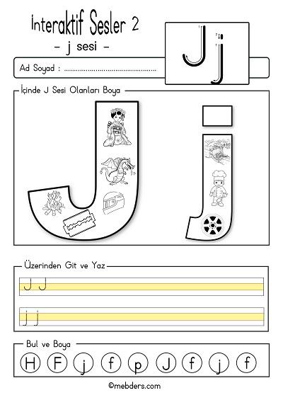 1.Sınıf İlk Okuma İnteraktif j sesi etkinliği 2