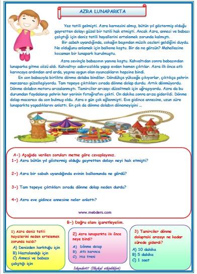 2.Sınıf Türkçe Azra Lunaparkta Okuma Anlama Metin Çalışması  7