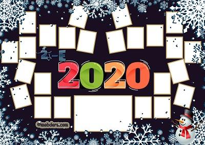 2E Sınıfı için 2020 Yeni Yıl Temalı Fotoğraflı Afiş (24 öğrencilik)