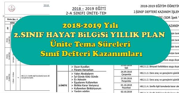 2018 - 2019 Yılı 2.Sınıf Hayat Bilgisi Yıllık Plan, Ünite Süreleri, Sınıf Defteri Kazanım Listesi