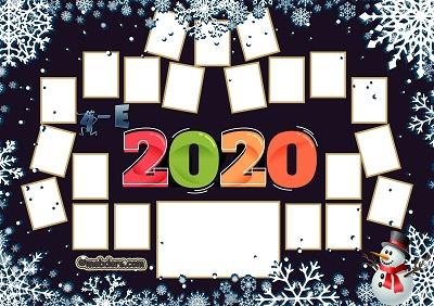 4E Sınıfı için 2020 Yeni Yıl Temalı Fotoğraflı Afiş (21 öğrencilik)