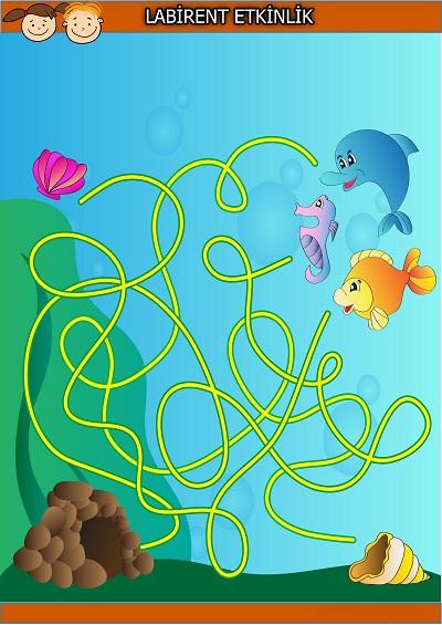 Yuvaya girmek isteyen balıklar labirent bulmaca etkinliği