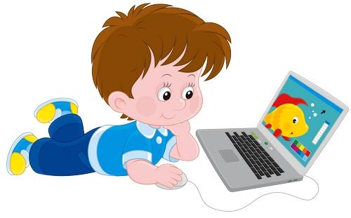 Clipart yere uzanmış bilgisayardan film izleyen erkek çocuk resmi png
