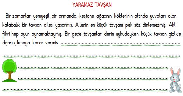 2.Sınıf Türkçe Hikaye Tamamlama Etkinliği 3